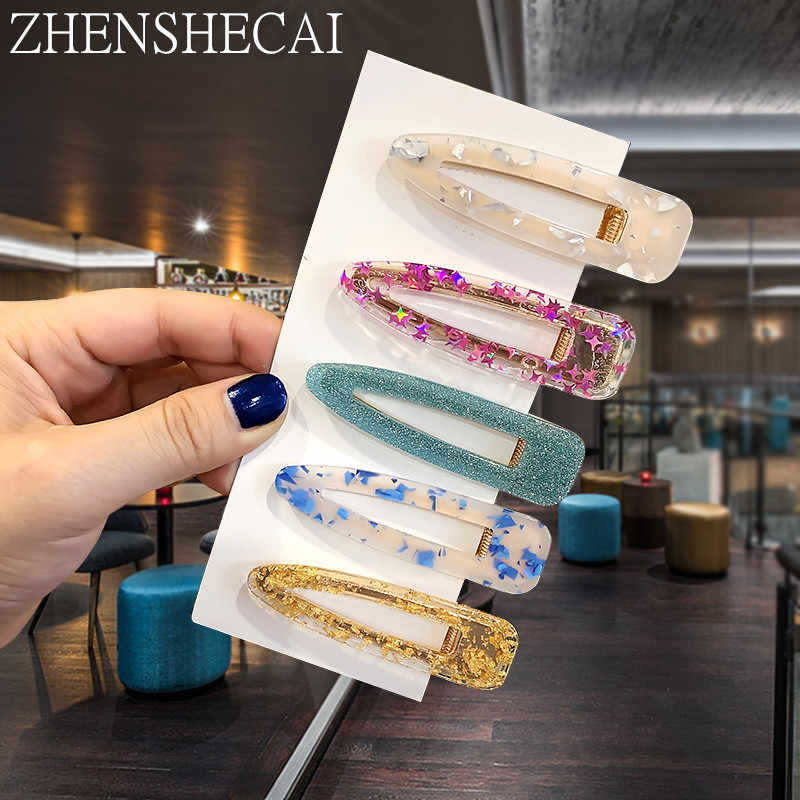 2019 New Women Girl Fashion Hair clips Barrettes Drop Water Acrylic Hollow rectangular Hair Accessories Headband Jewelry Youth