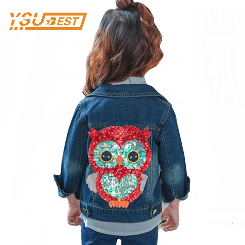 2018 Baby Girl Denim Jacket Sequined Owl Fashion Outwear For Boys and Girls Jeans Jackets Children Clothes 2-6Y Girls Jeans Coat white jeans jacket for girls denim coat spring autumn kids ripped jeans coat for boys denim coat children jackets and coat