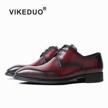 VIKEDUO Formal Dress Shoes For Men Genuine Leather Burgundy Wedding Office Luxury Brand Mans Footwear