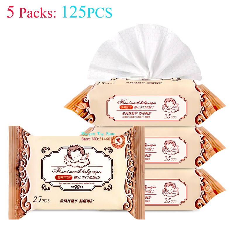 5 Pack (25pcs/ Pack) Combat Wipes Active Biodegradable Cleansing and Refreshing Wipes for Outdoors and Camping Baby Skin Care title=