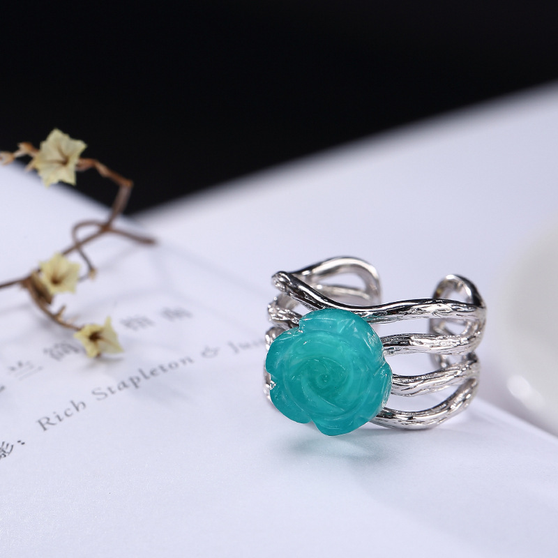 New Fashion Ring 925 Silver For Women Natural Gemstone Amazonite Rose Flower Romantic Finger Ring for Women Wedding Jewelry