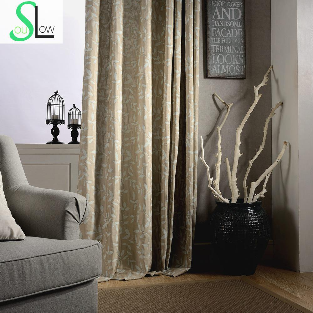 _ Double Jacquard Curtain Coffee Blue Window Floral Curtains