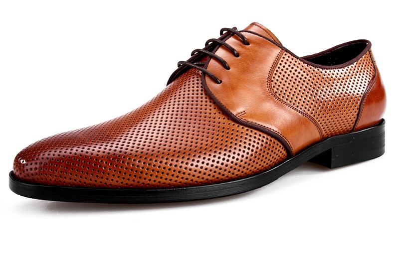 Fashion black / brown Cut Outs design pointed toe mens dress shoes genuine leather business shoes mens formal wedding shoes