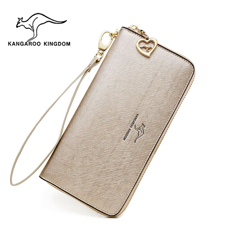 KANGAROO KINGDOM fashion women wallets split leather long zipper clutch purse female brand wallet