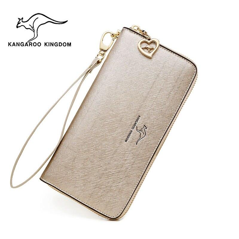 Kangourou KINGDOM mode femmes portefeuilles split cuir longue fermeture à glissière embrayage sac à main femme marque portefeuille-in Portefeuilles from Baggages et sacs    1