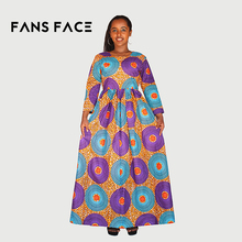 FANS FACE African Women Tradtional Dresses For Women Dashiki Elegant Round Printing Long Sleeve Party Wedding Fashion Dresses