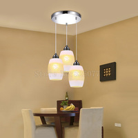 Modern Simple Three heads Glass Ball Pendant Lights Glass Lamps Creative Combination Lighting For Dinning Room JF1332