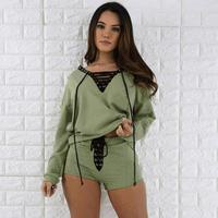 Feitong Summer Womens Sets Long Sleeve Shirt Bandage Cropped Tops Shorts Pants Two Piece Outfit Women