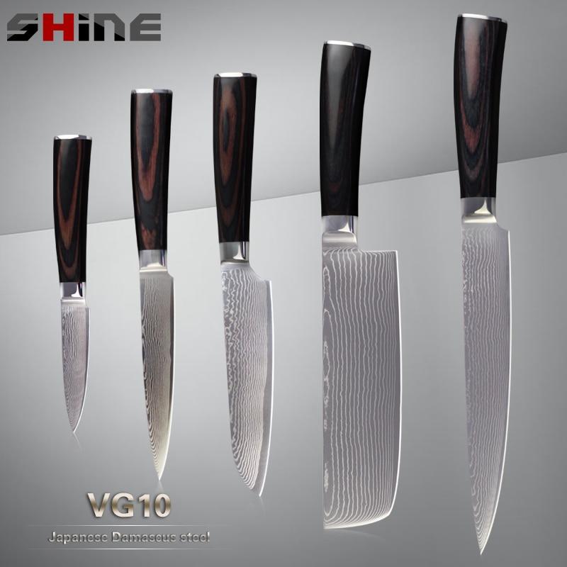 SHINE Brand Damascus Knives Japanese VG10 Damascus Steel Core High Quality Multi Purpose Kitchen Knives 5