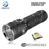 강력한 luminus led 손전등 최대 1200 루멘 빔 거리 500 미터 내장 대용량 리튬 배터리 야외 토치