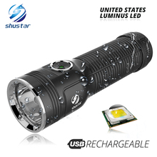 Powerful Luminus LED Flashlight max 1200 lumen beam distance 500 meter Built-in large capacity lithium battery outdoor torch super torch search flash light imalent dx80 8 creexhp70 max 32000 lumen beam built in most powerful flashlight 806 meter