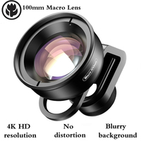 100mm Phone Macro Lens 4K HD Resolution No Distortion Blurry Background for Single / Dual camerawith Clip For iPhone/Samsung .