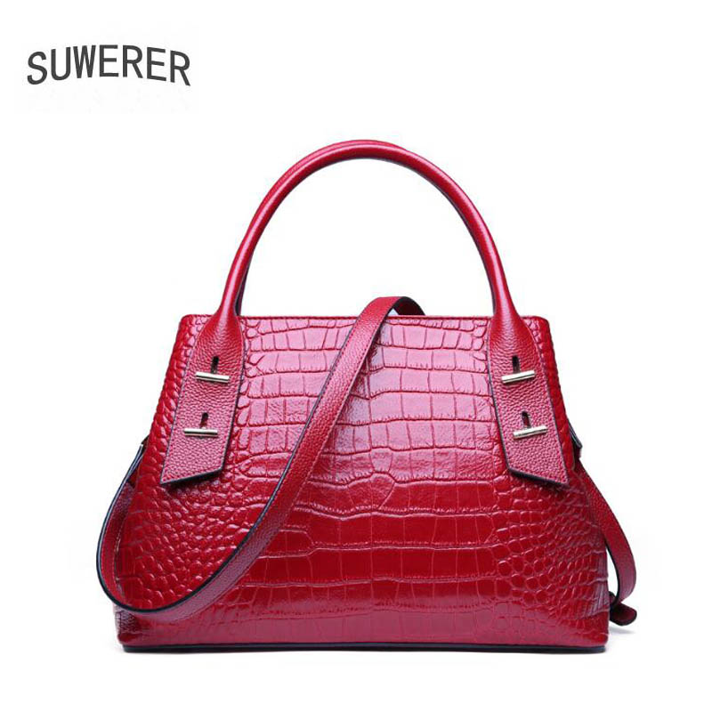 SUWERER high quality fashion luxury brand 2019 new crocodile leather handbag leather ladies shoulder Messenger bagSUWERER high quality fashion luxury brand 2019 new crocodile leather handbag leather ladies shoulder Messenger bag
