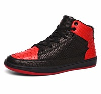 Soulsfeng Men Woman Sneaker Snakeskin Leather Classic High Top Lace Up Street Athletic Shoes Black Red
