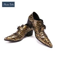Christia Bella Uqitue Designer Men's Fashion Fold Dress Shoes Plus Size Gold Skull Oxfords Punk Style Men Nightclub Party Shoes