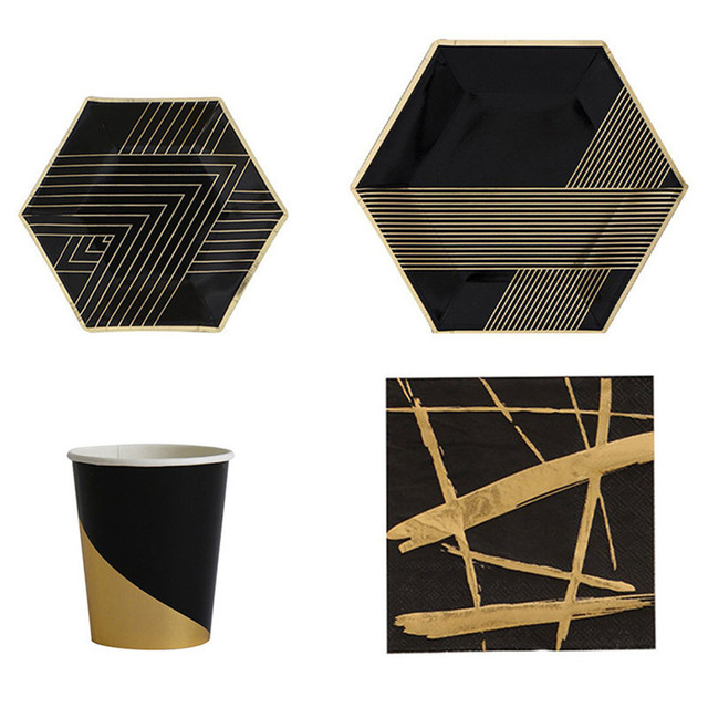 Black Type High-end Gold Blocking Disposable Tableware Set Paper Plates Cups Napkins Party Wedding  sc 1 st  AliExpress.com & Black Type High end Gold Blocking Disposable Tableware Set Paper ...