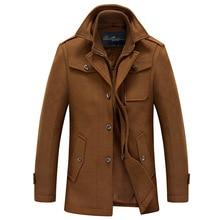 2016 осень зима мужчины пальто шерсти теплый с длинным рукавом толщиной двойной воротник стойка мужчины верхней одежды пальто куртки для мужчин