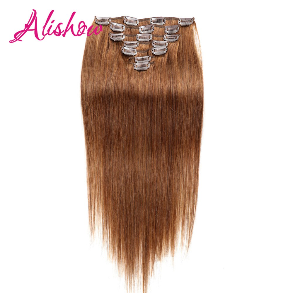 Alishow Clip-in Full Head Machine Made Remy Hair 160g 10pcs Thick Hair 100% Nature Human Hair Clip In Hair Extension Double Weft