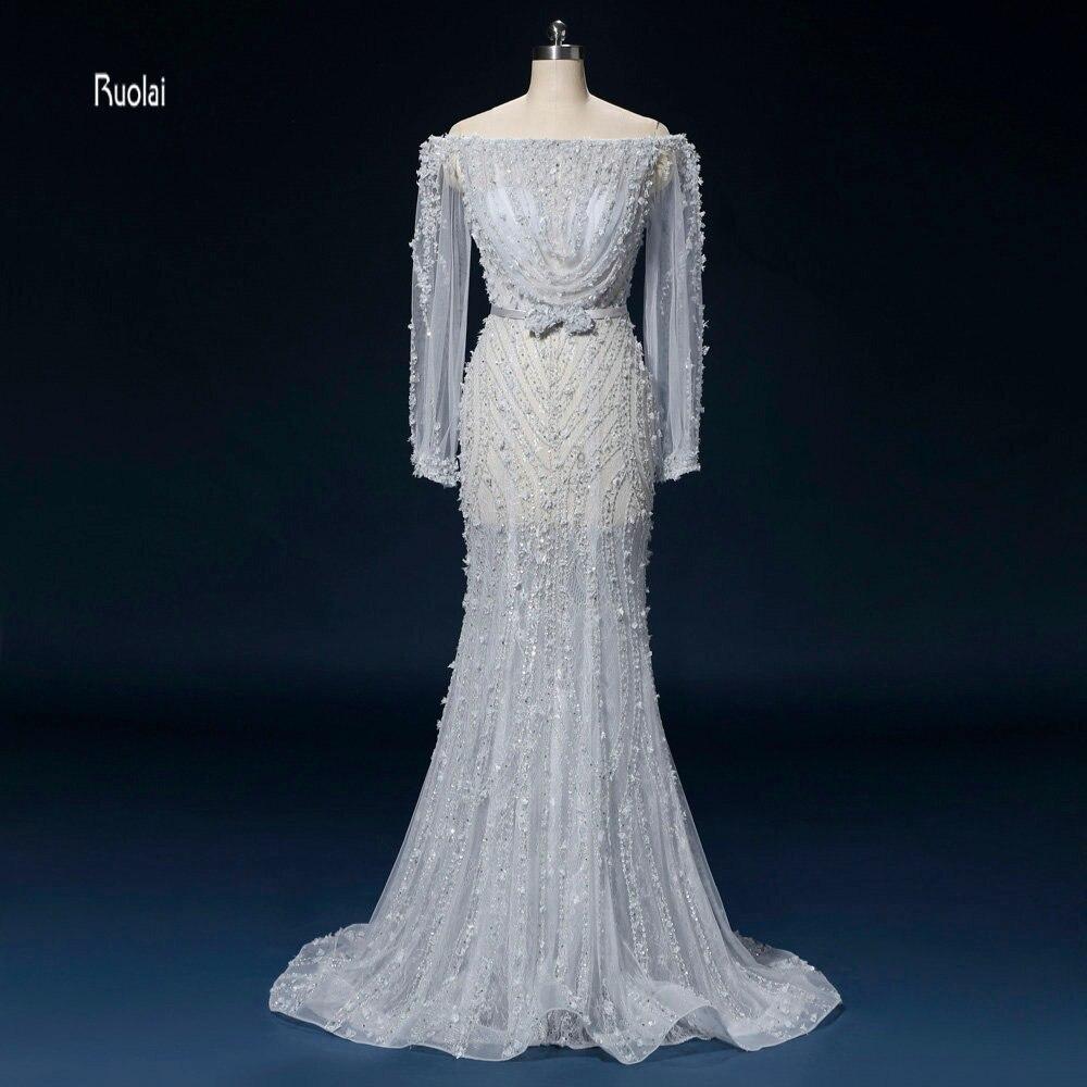 Vestido de festa date robes de soirée longue 2018 sirène bateau cou manches longues robe de soirée robes de bal robes de mariée