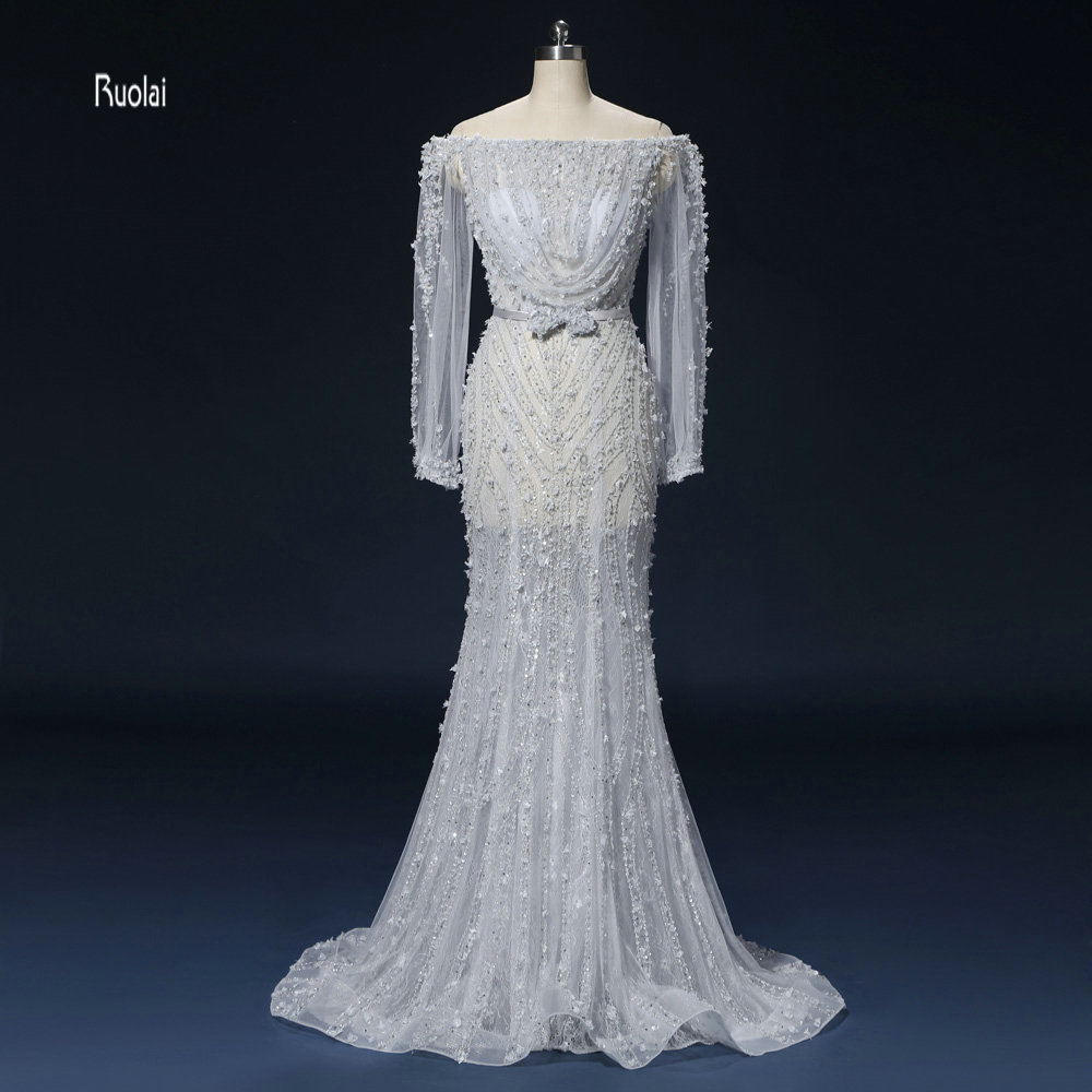 vestido de festa Newest   Evening     Dresses   Long 2018 Mermaid Boat Neck Long Sleeves   Evening   Gown Prom   Dresses   Wedding Party   Dresses