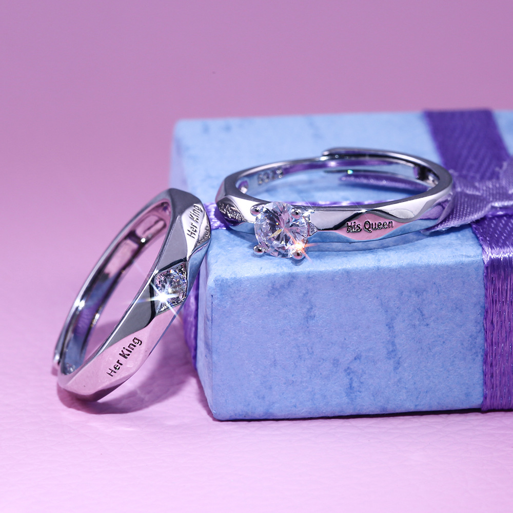Engagement His Queen Her King Couple Rings for Lovers Fashion Cubic Zirconia Adjustable Rings White Gold Wedding Jewelry in Rings from Jewelry Accessories