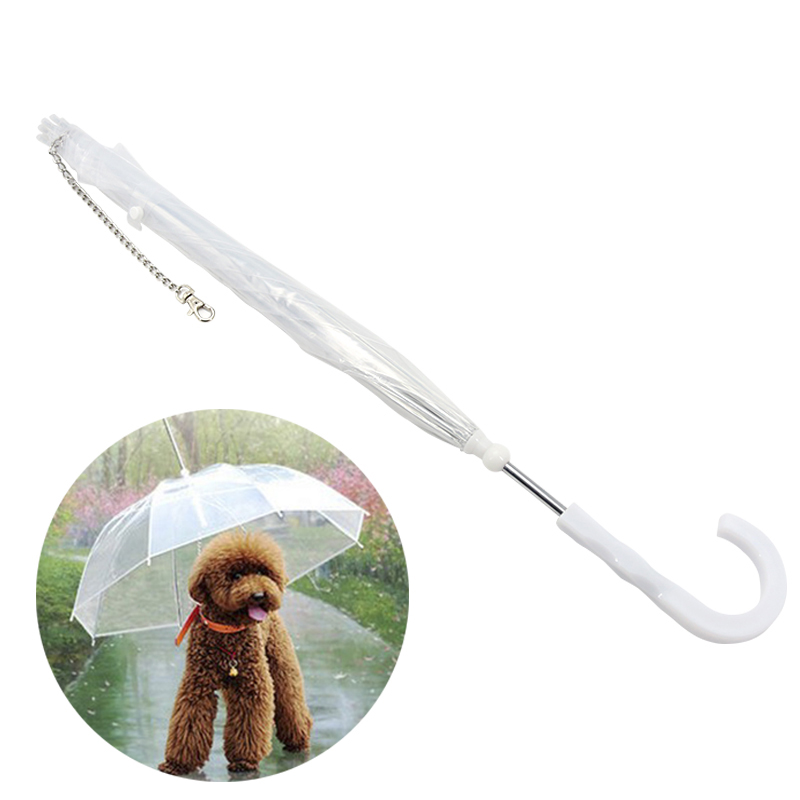 Useful Transparent Pet Umbrella pet Dog Umbrella Rain Gear with Dog Leads Keeps Pets Dry Comfortable in Rain