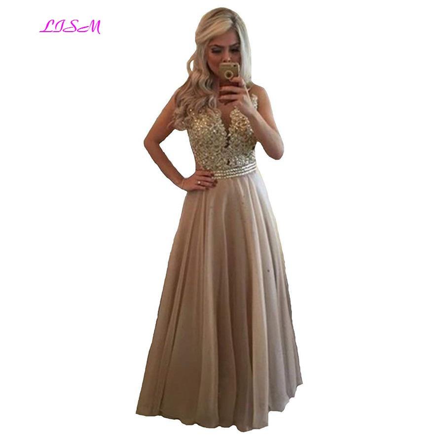 Chiffon Beaded Lace Applique Long Prom Dress Sheer Back Sleeveless Formal Gown O-Neck Floor Length Evening Dresses vestido festa