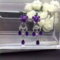 Natural amethyst drop earrings 925 silver natural crystal drop earrings for women personality fashion party Earrings jewelry