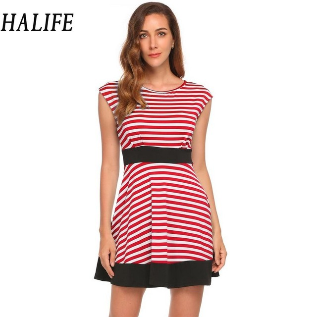 b97ae799748b HALIFE-Women-Sexy-Mini-Dress -European-Fashion-Casual-Cap-Sleeve-Blue-Black-And-White-Striped-Dress .jpg_640x640.jpg