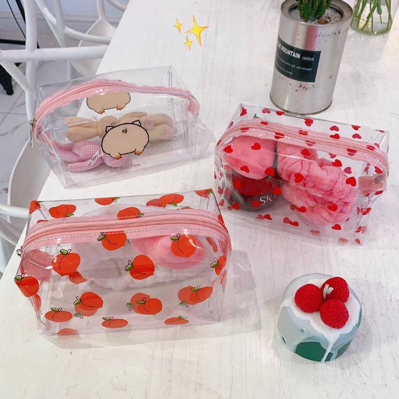 1 Pcs Cartoon Chibi Maruko Peach Heart Transparent Waterproof Cosmetic Bag Travel Storage Pouch Wash Bag Stationery Pencil Case