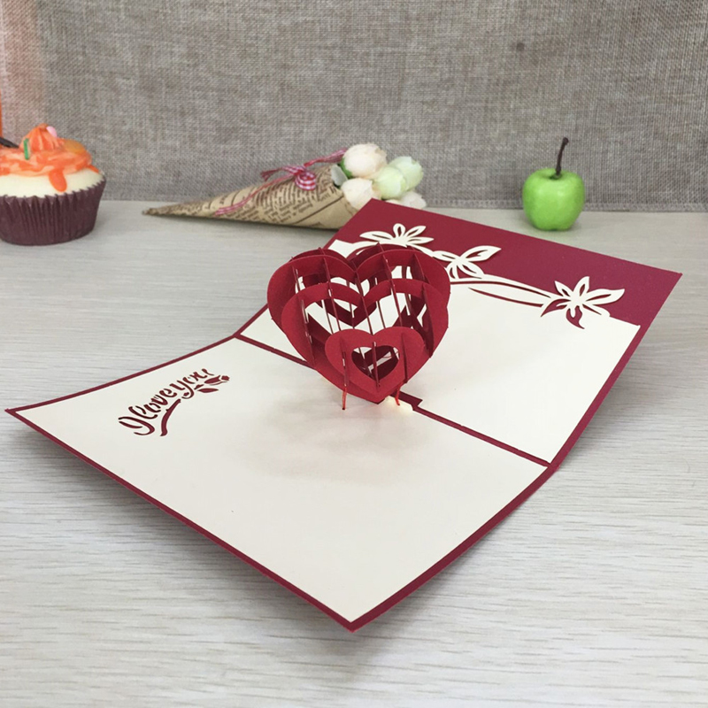 1pcs Sample Red Heart 3D Laser Cut Paper Cutting Greeting Pop Up Card Wedding Ivitation Custom Postcards VValentine's Day Gifts (4)
