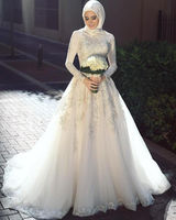 White Arab Muslim Wedding Dresses Custom Made Long Sleeve White Lace Appliques Beads Wedding Gowns Hijab Wedding Dresses