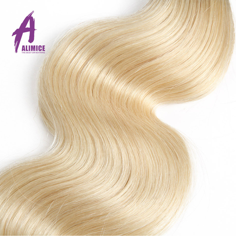 Ombre Peruvian Body Wave Hair Weaves 4 Bundles T1b/613 Ombre Human Hair Bundles Dark Root 100% Alimice Remy Hair Extensions