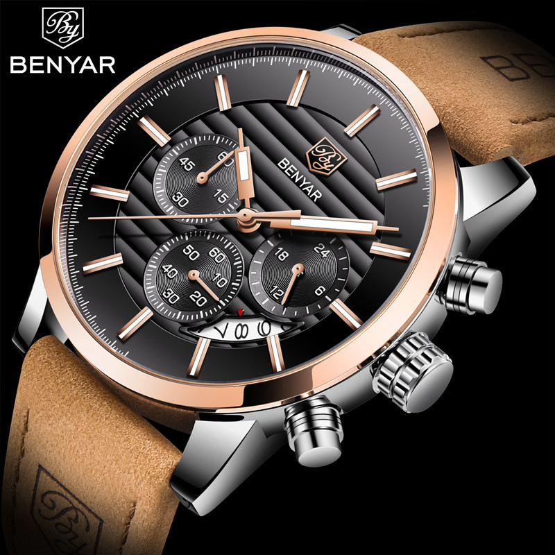 Fashion Analog Leather Strap Mens Waterproof Watches Clock 2018 <font><b>BENYAR</b></font> New Luxury Men Chronograph Quartz Watch Relogio Masculino image