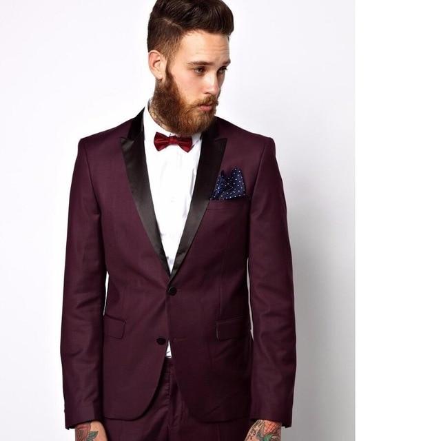 284a5d4d09bc Gwenhwyfar Italian Style Burgundy Groom Tuxedos With Black Lapel Mens  Wedding Party Suits 2 Piece Slim