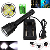 Underwater 100m 15000lm 5xT6 LED Aluminum Diving Flashlight Torch Light 2x18650 Battery Charger