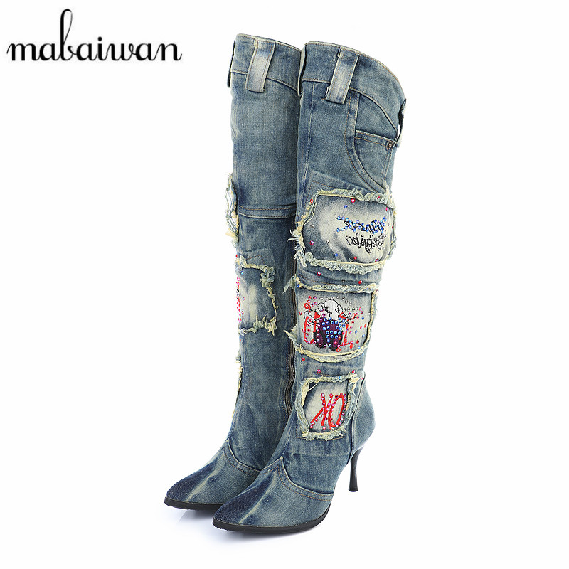 Mabaiwan Vintage Side Zipper Denim Boots Thin High Heel Pointed Toe Women Knee High Boots Winter Warm Jeans Long High Boot hot selling 2015 women denim boots pointed toe tassel patchwork knee high boots crystal thin high heels winter motorcycle boots