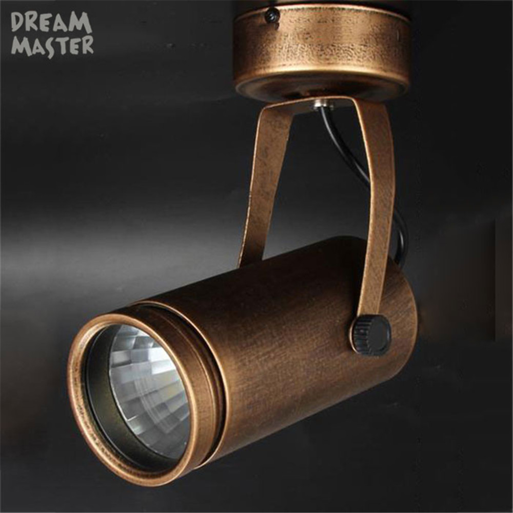 European american retro vintage brown cob spotlights clothing store cafe bar led ceiling mounted rail track lamp industrial in led spotlights from lights
