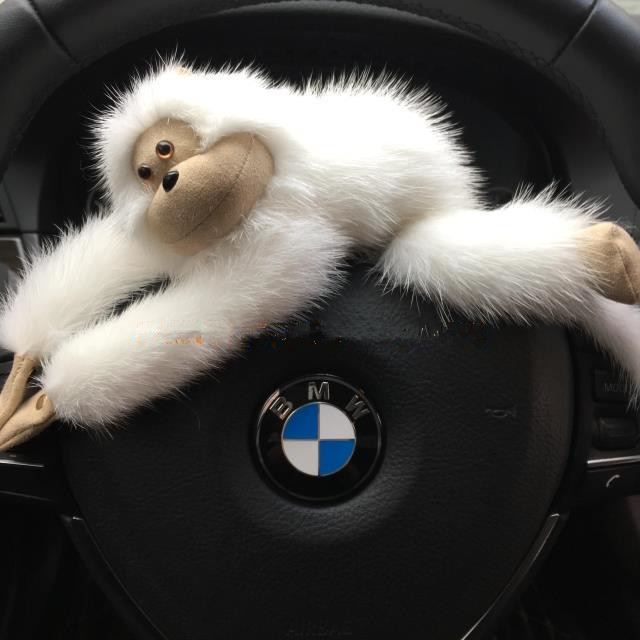 Automotive interior ornaments Perfect real fur keychain animal monkey backpack pendant red white magnet suction piece