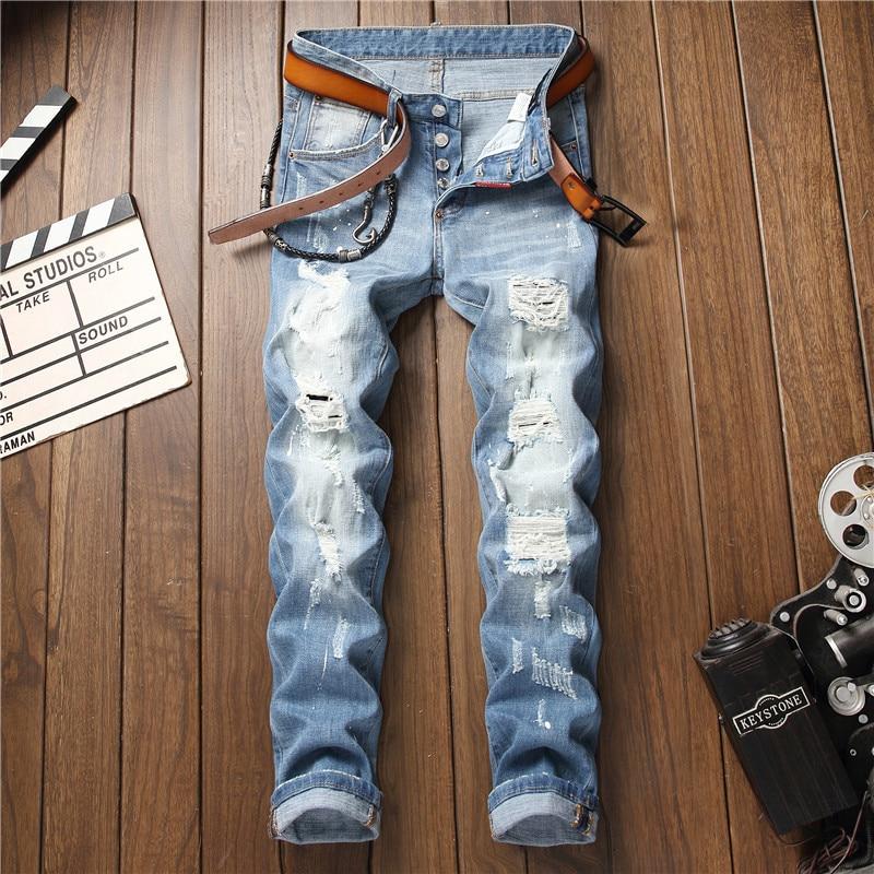 European American Style famous brand men   jeans   luxury Men straight denim trousers button Slim hole light blue   jeans   for men 1002