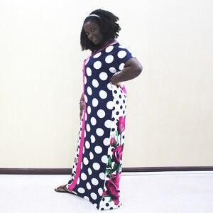 Image 3 - Dashiki アフリカ女性のためのポルカドット綿半袖ロングドレス
