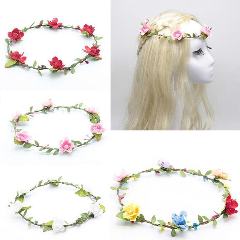 unidslote melocotn corona de flores de tela accesorios para el cabello artificial beach floral hairbands tocado de la novia