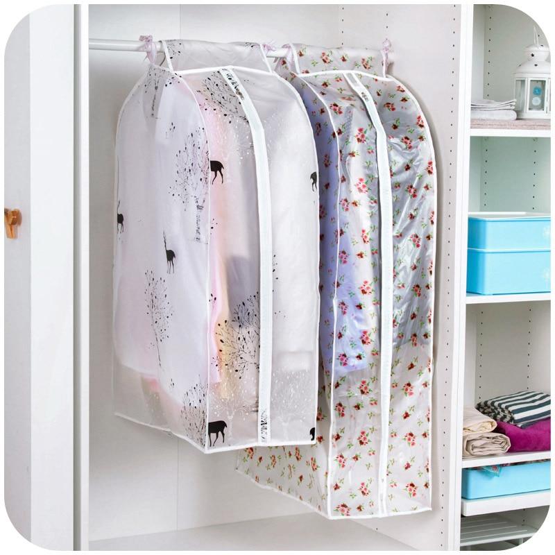 Organisasjon Oppbevaringspose støvposer Dekk klær Beskyttelsesveske til Overcoatdragter Garment Hengende lommen Organizador 64036