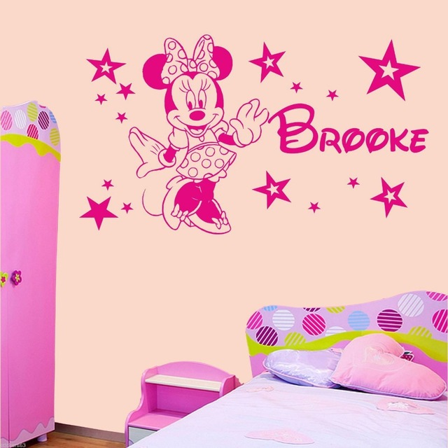 home decoration Personalised Minnie Mouse stars girls bedroom wall art sticker decal any name wall stickers