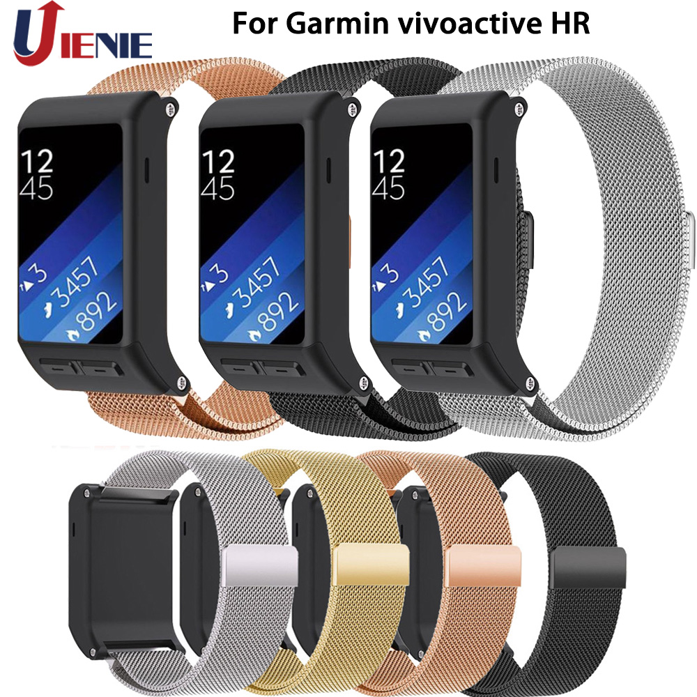 Watchband Strap For Garmin Vivoactive HR Smart Watchband Stainless Steel Milanese Loop Wrist Bracelet Replacement wristand