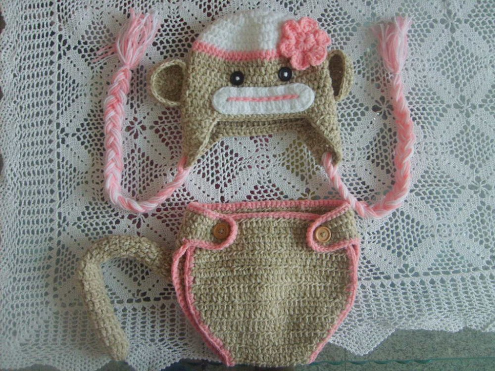 PINK Sock Monkey Hat & Diaper Cover SET Size Newborn 3m 6m ...