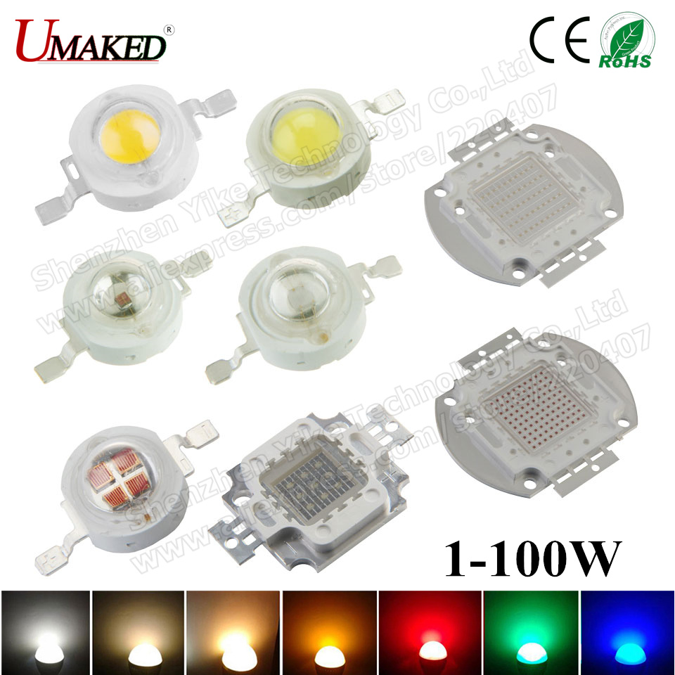 High Power LED SMD COB Bulb Chip 1W 3W 5W 10W 20W 30W 50W 100W Warm Cool White Red Green Blue 1 3 5 10 20 30 50 100 W 1w led bulbs high power 1w led lamp pure white warm white 110 120lm 30mil taiwan genesis chip free shipping