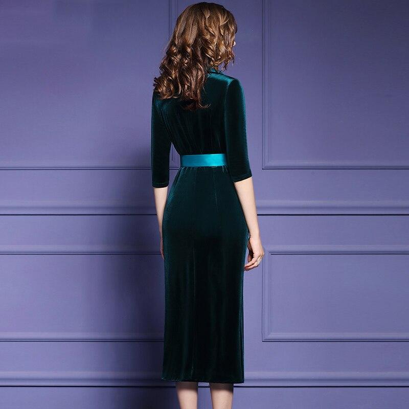 Qian Han Zi najnowszy fashion Runway płaszcz kobiet trzy czwarte rękawem podwójne piersi szczupła Party aksamitna długi płaszcz w Wełna i mieszanki od Odzież damska na  Grupa 3