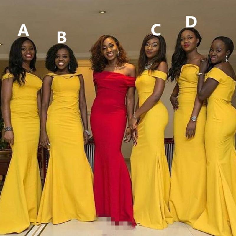 ZB061 Mermaid African Bridesmaid Dresses Long Girl Yellow