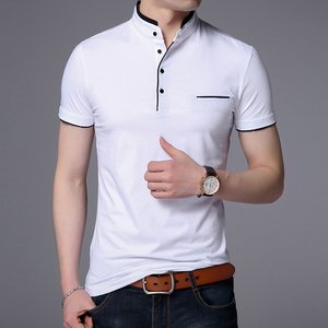 Image 4 - Liseaven גברים מנדרינית צווארון חולצה בסיסי חולצת טי זכר קצר שרוול חולצה חדש לגמרי חולצות & tees כותנה חולצה